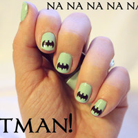 Batman Logo Fingernail Stickers x20 by stickitvinyl on Etsy