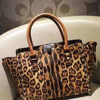 Vintage Studded Leopard Print Shoulder Bag