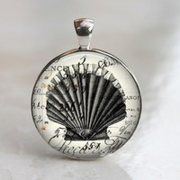 vintage seashell illustrations glass round necklace keychain