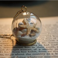 transparent glass ball sea star shell necklace