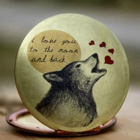 Wolf Locket - heart love wolf locket necklace romantic quote I love you