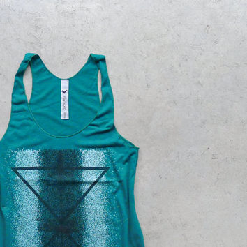 The Palindromes. tank top women. geometric tank. women tank. reflected triangle print. summer fashion. emerald green, black, white