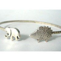 hedgehog wrap bracelet with an elephant, hedgehog bangle