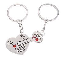 2-Piece Set Stainless Hearts Lovers keychain