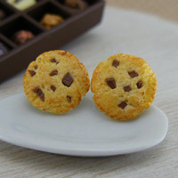 Chocolate Chips Cookies  Studs / Post Earrings by shayaaron
