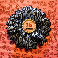 I Heart ZOMBIES Blue Zebra Flower Hair Clip - Pinup Rockabilly Accessory