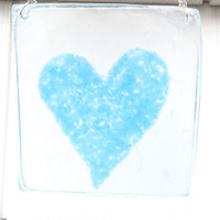 Fused Glass Mother&#x27;s Day Wall Hanging Gift Blue Heart
