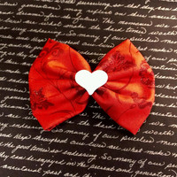 White Heart & Red Pinup Bow Hair Clip