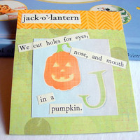 Kids Nursery Art - J Is For Jack O Lantern - We Cut Holes In A Pumpkin - ABC Alphabet Ready to Frame Collage Wall Home Childrens Decor