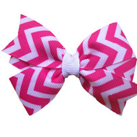 Hot pink chevron hair bow - chevron bow, 3 inch bow
