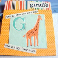 Kids Nursery Art - G Is For Giraffe - The Giraffe Has Long Legs - ABC Alphabet Ready to Frame Collage Wall Home Childrens Decor