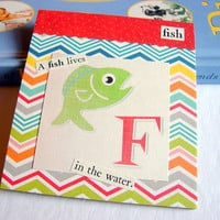 Kids Nursery Art - F Is For Fish - A Fish Lives In The Water - ABC Alphabet Ready to Frame Collage Wall Home Childrens Decor