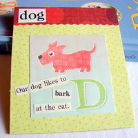 Kids Nursery Art - D Is For Dog - Our Dog Likes To Bark At The Cat - ABC Alphabet Ready to Frame Collage Wall Home Childrens Decor