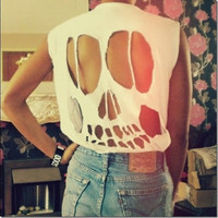 Skull in the bacck Tshirt by TakeItHigh on Etsy
