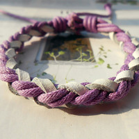 Spring Gift Popular trend Tiny Style Purple Cotton Cord and Nature White Leather Braid Woven Together Stylish Adjustable Wrap Bracelet S-19