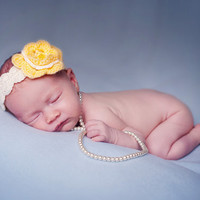 Newborn Baby Girl Headband in pastel yellow and cream