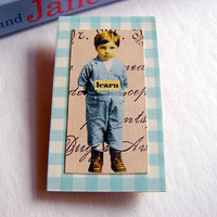 Inspirational Brooch - Learn - Boy In Blue - Medium Paper and Chipboard Decoupage Pin Badge - Vintage