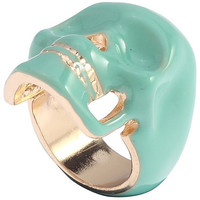 ROMWE | Hollow-out Diamante Skull Green Ring, The Latest Street Fashion