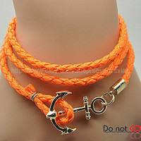 Cuff Leather Fashion Style Anchor Buckle Bracelet  Orange Leather Personalized Adjustable Bracelet 2232S