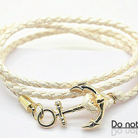 Cuff Leather Fashion Style Anchor Buckle Bracelet White Leather Personalized Adjustable Bracelet 2233S