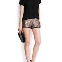 MANGO - NEW - Chiffon hems sequined shorts