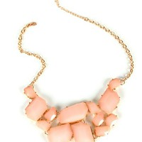 Pink Gold Gem Cluster Necklace
