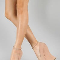 Bamboo Whistle-01 Ankle Strap Curved Wedge