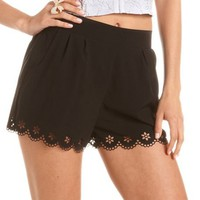 Scalloped Hem Laser Cut Short: Charlotte Russe