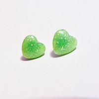 Lime Green Glitter Heart Surgical Steel Cabochon Earrings