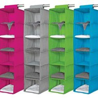 6 Shelf Organizer - Vibrant Dorm Closet Organizer Storage Dorm Supplies Colorful Hanging Shelf Space