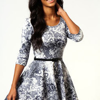 Samantha Printed 3/4 Sleeve Skater Dress