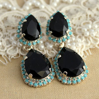 Turquoise Black Silver Chandelier earring statement Crystal earrings Silver  - Silver plated earrings real Swarovski  crystals.