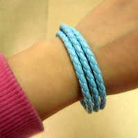 girl or women light blue leather woven cuff by braceletcool