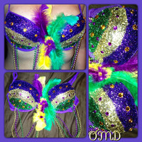 Mardi Gras rave bra by OriannaMdesigns on Etsy