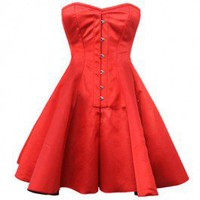 GC-1031 - Red Flared Corset Dress-MADE TO ORDER
