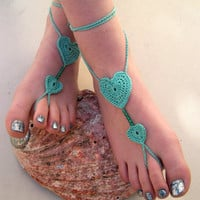 Crochet Heart Anklet - Mintgreen Hippie jewelry - Feet Jewelry  Bridesmaid mint accessory - boho chic - Beach Wedding jewelry