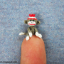 Tiniest Sock Monkey - Micro Amigurumi Crochet Tiny Doll Miniature Sock Monkeys -  Made to Order