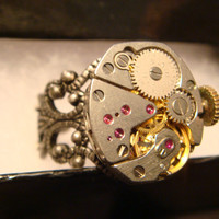 Steampunk ELGIN Watch Movement Ring with Exposed Gears (1059)