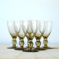 Vintage Smoked Glass Wine Glasses Cocktail Glasses Mid Century Modern Retro