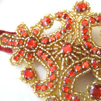 Beaded Applique Headband Elastic Red and Gold Headband