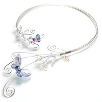 Butterfly Open Front Choker Collar Opal Glass Leaves Blue Butterflies