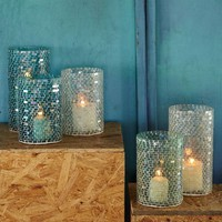 Mosaic Glass Candleholders