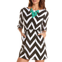Chevron Stripe A-Line Dress: Charlotte Russe