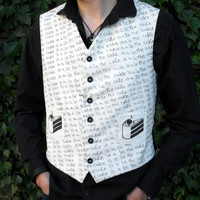 Aperture Science Portal The Cake Is A Lie Black and White Waistcoat Vest Nerdy Clothing Apparel
