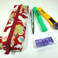 Pen Holder, Pen Pouches, Gift For Her, Handmade Pencil Case,Japanese Kimono cotton fabric Cranes Red