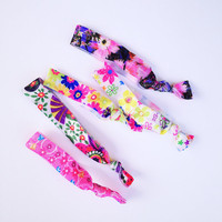 FLORAL Elastic Hair Ties Doubles as Bracelets Fantastic Elastics Stretchy Ponytail Holder with No Crease Elastic (Set of 5)