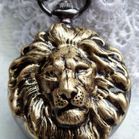 Lion pocket watch, on sale, lion pocket watch, lion is in bronze with gunmetal mechanical pocket watch