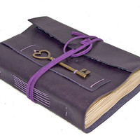 Purple Leather Journal with Tea Stained Pages and Heart Key Bookmark