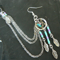turquoise dreamcatcher chained ear cuff turquoise and amethyst cross cuff in boho gypsy hippie hipster native american and tribal style