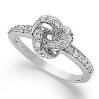 Diamond Ring, Sterling Silver Diamond Love Knot Ring (1/10 ct. t.w.) - Rings - Jewelry & Watches - Macy's